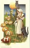 vintage-Halloween-black-cat-woman-harvest-owl-card