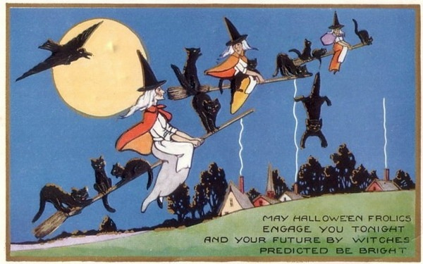 vintage halloween three witches black cats broomsticks crow - Free Animated Halloween Cards