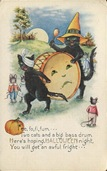 vintage-Halloween-two-black-cats-drum-mice-card