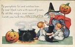 vintage-Halloween-witch-boy-girl-black-cat-cauldron-pumpkins-card