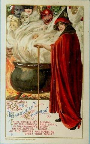 vintage halloween witch cauldronghosts goblins postcard - Vintage Halloween Witches