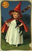 vintage-little-girl-witch-red-cape-hat-black-cat-broom-pumpkin-card