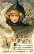 vintage-witch-black-hood-goblins-candle-postcard