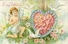 Victorian valentines card cerub arrow doves heart flowers