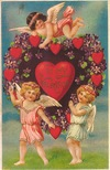 Victorian valentines card three cherubs purple flowers hearts