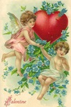 Victorian valentines cards two cherubs blue flowers heart