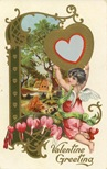 Victorian valentines cherub with flowers country scene heart