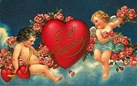 Victorian valentines two cherubs roses and heart