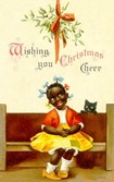 vintage-Christmas-black-cat-little-girl-mistletoe
