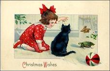vintage-Christmas-card-black-cat-little-girl-toys