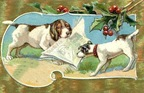 vintage-Christmas-card-two-dogs-playing-holly