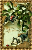 vintage-Christmas-cards-two-cats-mistletoe-bug-brown-border