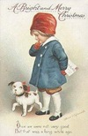 vintage-Chrsitmas-card-white-brown-dog-little-boy