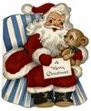 vintage-Santa-Claus-striped-blue-chair-dog-kids-Xmas-card