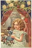 vintage-Santa-lirttle-girl-dol-Christmas-cardl