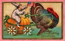 vintage Thanksgiving boy riding turkey with American flag