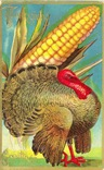 vintage Thanksgiving cards turkey wth giant corn