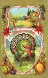 vintage Thanksgiving turkey with farmhouse and harvest vegetables