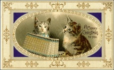 vintage-Victorian-two-striped-brown-cats-basket-gold-border