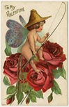 vintage victorian valentines card cherub fishing red roses buttterfly wings