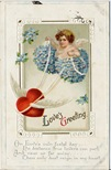 vintage Victorian valentines cherub greeting card blue flowers heart with wings