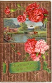 free vintage birthday card carnations farm and lake scene