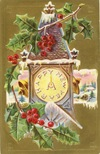 free vintage happy new year cards clock tower holly snow bells