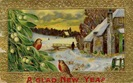 free vintage happy new year cards two birds snow scene mistletoe