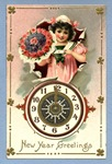 free vintage happy new year greeting cards girl clock flowers bouquet