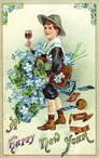 free vintage new year cards boy with wine four-leaf clovers money blue flowers