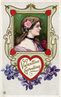 free vintage valentine card pretty women bruntette with pink rose in her hair