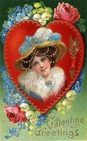 Victorian vintage valentine card pretty woman flowers hat with blue feathers