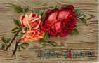vintage birthday card red and peach roses on wood background