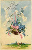 vintage birthday card two doves blue flower basket