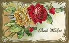 vintage birthday cards red and yellow roses gold  border