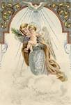 vintage christmas card Jesus and angel in clouds