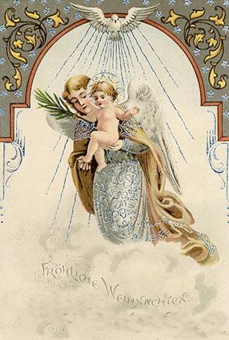 Chirstmas angels dans immagini sacre vintage-christmas-card-jesus-and-angel-in-clouds