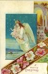 vintage christmas card Jesus and angel