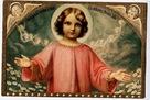 vintage christmas card Jesus and angels