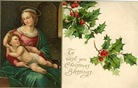 vintage christmas card Jesus and Mary holly