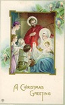 vintage christmas card Jesus Mary and Joseph Christmas tree
