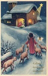 vintage christmas card Jesus Mary and Joseph manger shepard star of Bethlehem