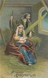 vintage christmas card Jesus Mary and Joseph manger