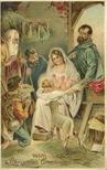 vintage christmas card Jesus Mary and Joseph wise men manger