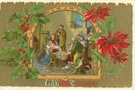 vintage christmas card Jesus Mary and Joseph wise men poinsettias