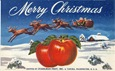 vintage clip art fruit crate label merry Christmas Santa Claus apples Stadelman fruit