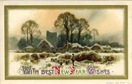vintage new year cards farm scene with sheep and snow