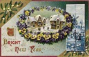 vintage new year greeting pansies mistletoe snow Delft tiles windmill