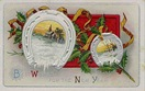 vintage new year postcards lucky horseshoes holly