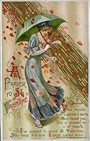 vintage valentines day card a prayer to St. Valentine raining red hearts